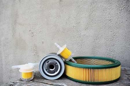Filters for cars. Auto parts accessories: oil , fuel or air filter for engine car. Banco de Imagens