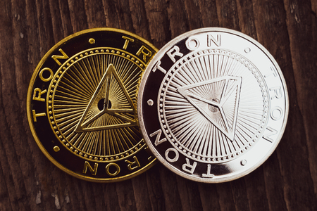 Coins Tron TRX, digital money, new cryptocurrency. Tron is a promising cryptocurrency.