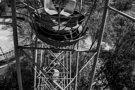 Photo made in a Cabin Ferris Wheel. Black and white photo.