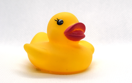 Yellow rubber duck for swimming on a white background.