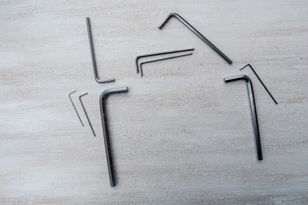 Silver Hex keys on a white background. Imagens