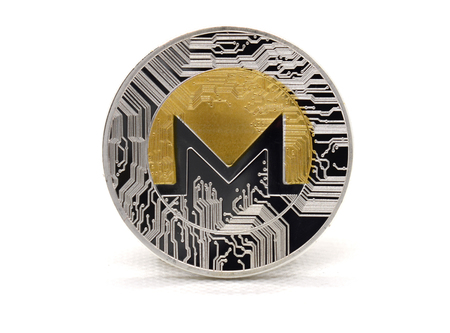 Gold-Silver Monero (XMR) coin isolated on a white background