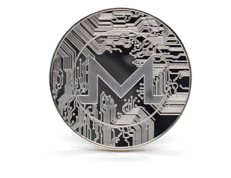 Silver Monero (XMR) coin isolated on a white background