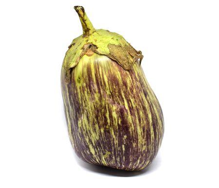 Eggplant on a white background. Eggplant has vitamins C, B1, B2, B5, PP. Isolated eggplant.