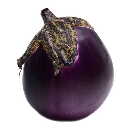 Eggplant Isolated with clipping path on a white background. Fresh eggplant close-up.