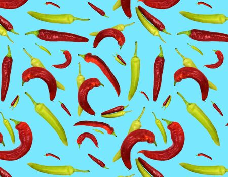 Seamless pattern red and green peppers on blue background. Illustration for Your Design, Wrapping Paper, Web, Wallpaper, Fabric