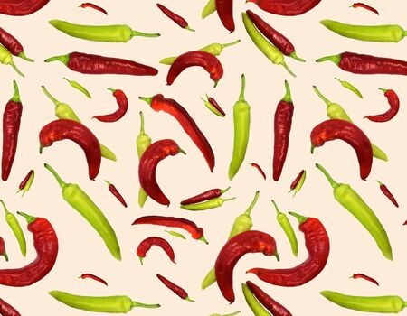 Seamless pattern red and green peppers on bright background. Illustration for Your Design, Wrapping Paper, Web, Wallpaper, Fabric