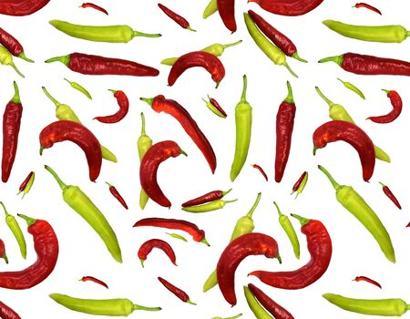 Seamless pattern red and green peppers on white background. Illustration for Your Design, Wrapping Paper, Web, Wallpaper, Fabric