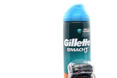 Ukraine, Kremenchug - January, 2020: Gillette Shaving Gel on white background. Gillette is an brand of safety razors.