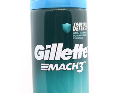 Ukraine, Kremenchug - January, 2020: Gillette Shaving Gel on white background. Gillette is an American brand of safety razors and other personal care products including shaving supplies. Sajtókép