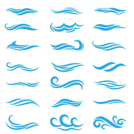 Silhouette of stylized vector blue waves isolate on white. Wave ocean and water curve splash and ripple illustration.