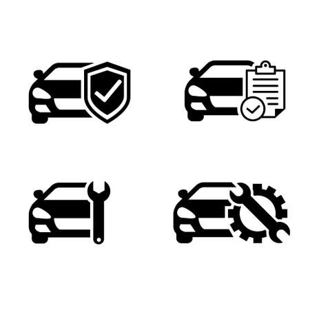 Car service vector icon set. Checkup illustration sign. Registration symbol.