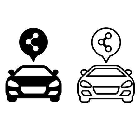 Carsharing service icon vector set. carpool illustration sign collection. parking symbol.