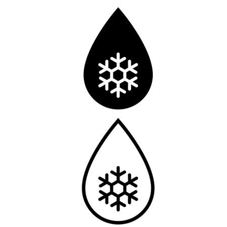 Frozen water vector icon set. Drop with snowflake illustration sign collection. antifreeze symbol.