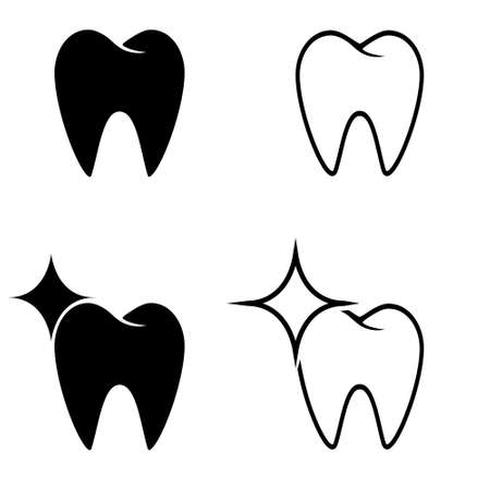 Tooth vector icon set. dentist illustration sign collection. stomatology symbol.