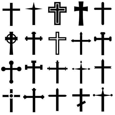 Christian cross vector icons cet. Christian cross icon illustration. Christian cross symbol collection.