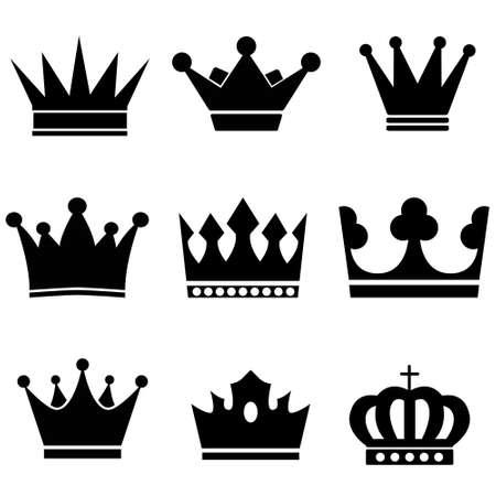 Crowns vector icons set. Royal Crown illustration symbol collection. king logo or sign.