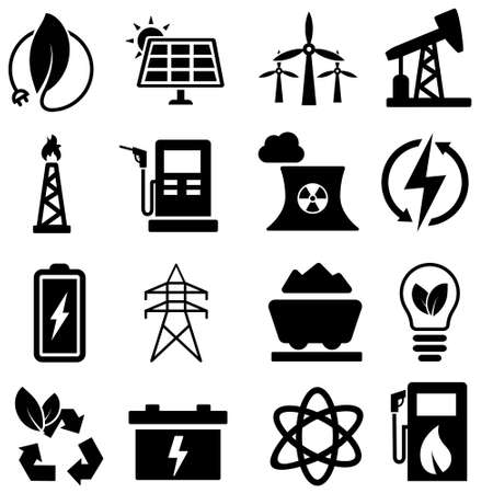 energy icons vector set. power illustration sign collection. electrical symbol.