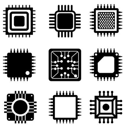 Microchip vector icons set. CPU illustration symbol collection. core icon or sign. Векторная Иллюстрация