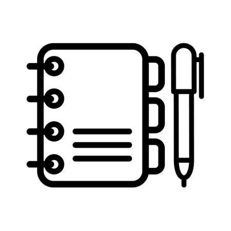 Writing book vector icon. logbook illustration symbol. notebook sign. Vektorgrafik