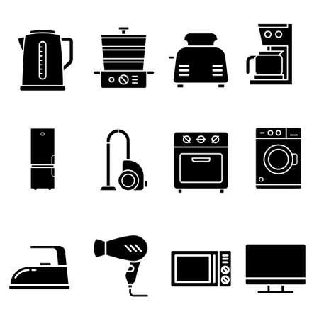 Appliances icon vector set. Technics illustration sign collection.