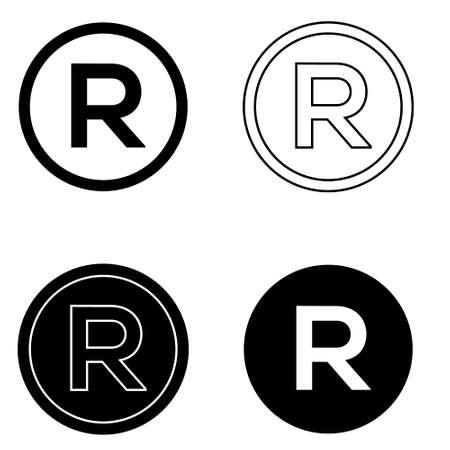 R icon vector set. symbol copyright icon vector set. trademark symbol. Illustration