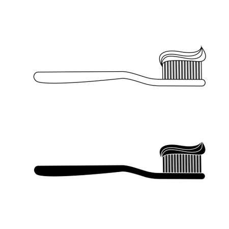 Toothbrush with toothpaste icon vector set. brush your teeth illustration sign collection. bathroom symbol.