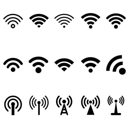 Wireless icon set. wifi illustration sign collection. network symbol.