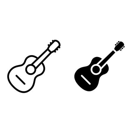 Guitar icon vector set. acoustic illustration sign collection. audio symbol.