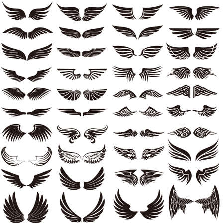Angel wings icon vector set. fly illustration sign collection. pilot symbol. Vetores