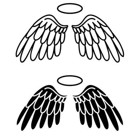 Angel wings icon vector set. fly illustration sign collection. pilot symbol.