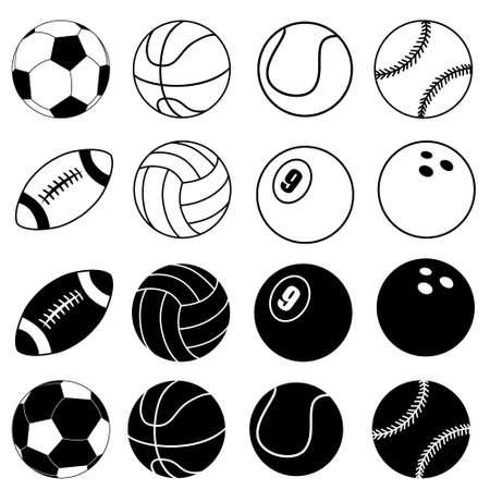 Ball icon vector set. football ball. Sport symbol. Vetores