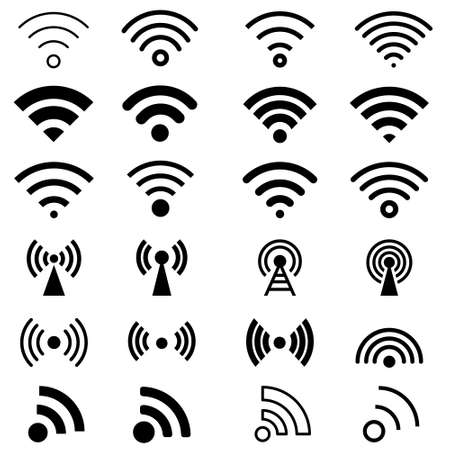 Black vector set icons. wifi signal illustration sign collection. wireless symbol.