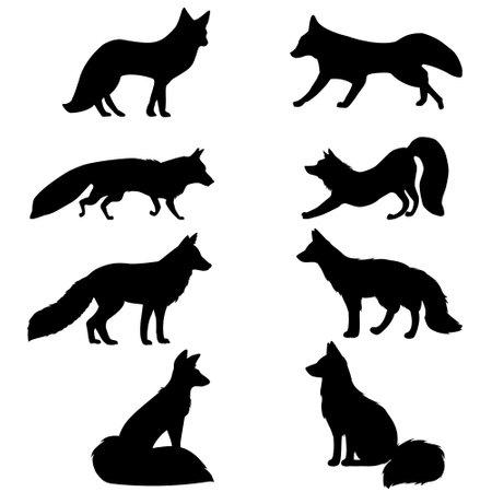Fox SVG. Fox cut file. Fox cutting set. Vetores