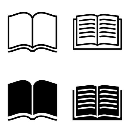 Open book vector icon set. magazine illustration sign collection.
