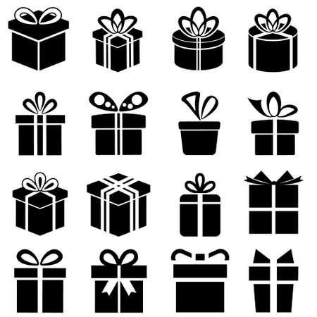 Gift icon vector set. present illustration sign collection. birthday symbol. sale logo.