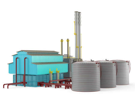 Factory building model with oil storage tank Banco de Imagens