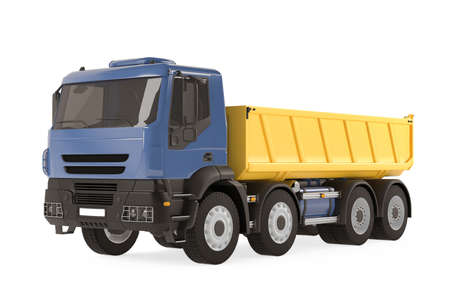 Tipper dump truck isolated. Yellow blue photo