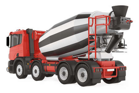 truck concrete mixer: Cement Mixer Truck back isolated