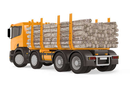 logging truck: Heavy loaded logging timber truck back Stock Photo
