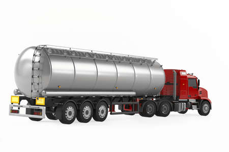 Fuel gas tanker truck back isolated photo