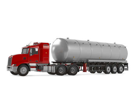 Fuel gas tanker truck isolated photo