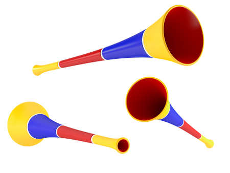 party horn blower: colored party horn. Multiple angles of view