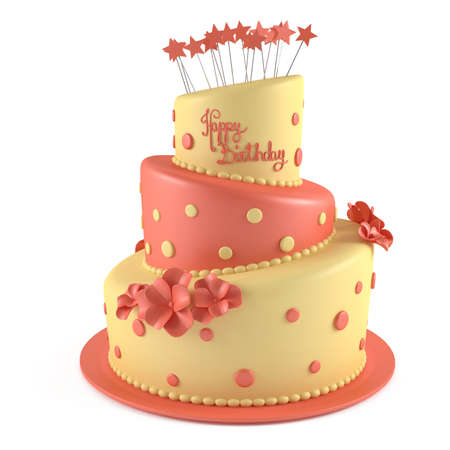 cartoon cake: Birthday cake isolated