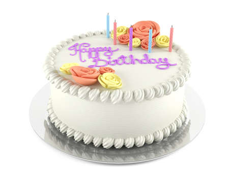 happy birthday cake: Birthday cake isolated