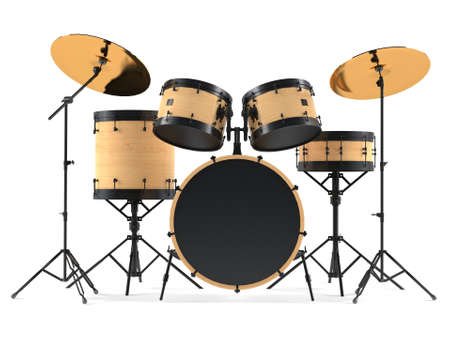 cymbal: wooden drums isolated. Black drum kit.