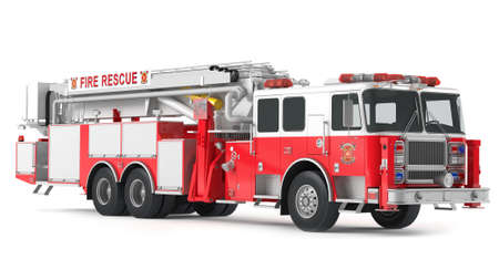 fire rescue: fire truck isolated Stock Photo