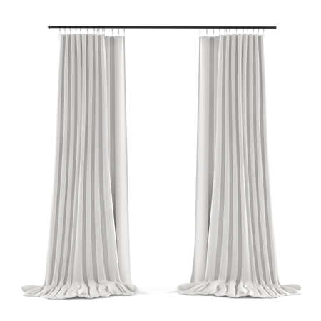 white grey curtain isolated at the white background