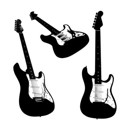 overdrive: Electric guitar silhouettes isolated