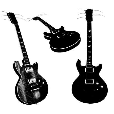 overdrive: Electric guitar silhouettes Stock Photo